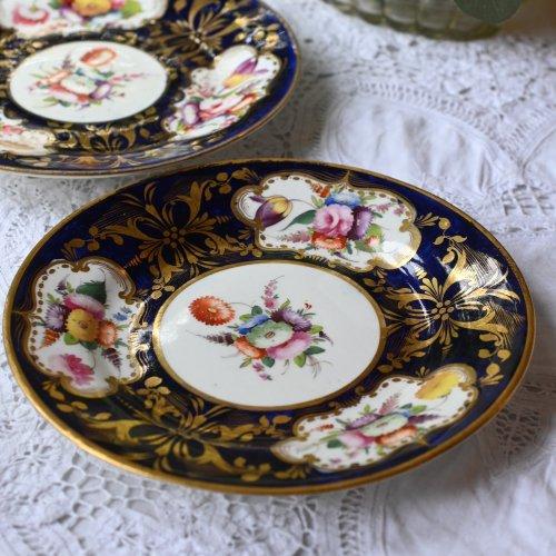 1810年代 金彩・コバルトブルー・手描きの花柄が美しいデザートプレート(送料込)