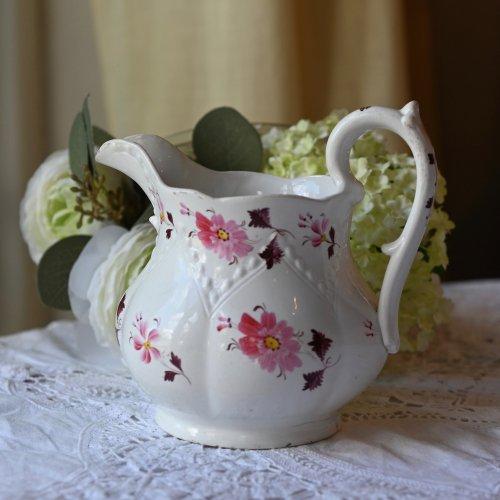 1860年代・コールポート 素朴な手描きのお花柄が可愛らしい中型ジャグ(送料込)