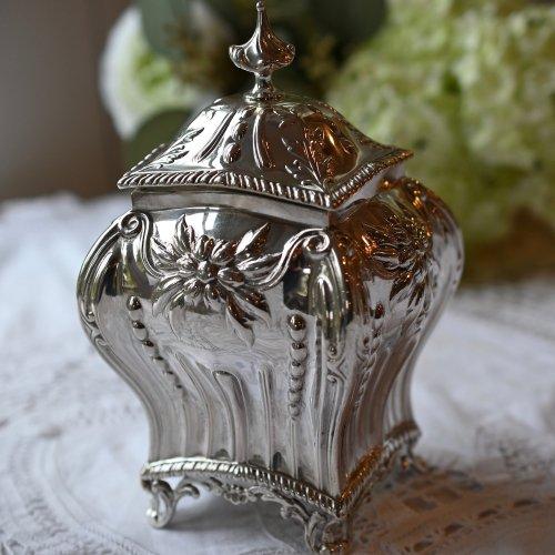 1898年・スターリングシルバー製 宝石箱のような華やかなティーキャディ(送料込)