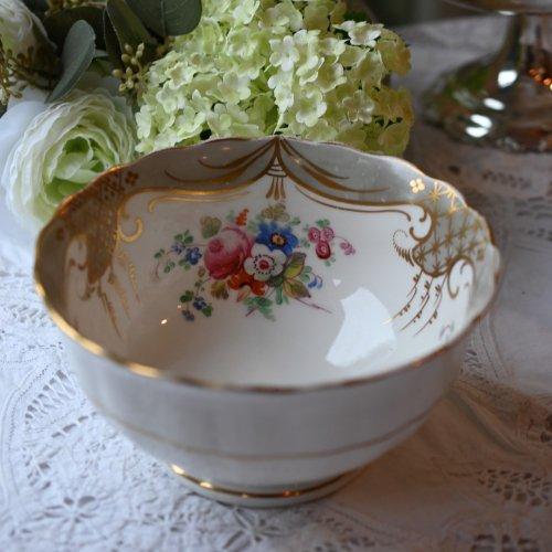 メーカー不明・ヴィクトリア時代・グレー色と手描きのお花のスロップボール(送料込)