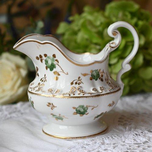 1830年代 リッジウェイのグリーンの薔薇と金彩が珍しいミルクジャグ(送料込)