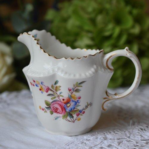 1900年〜1904年 チャールズフォード 金彩と花柄が可愛らしい小さめなミルクジャグ (送料込)
