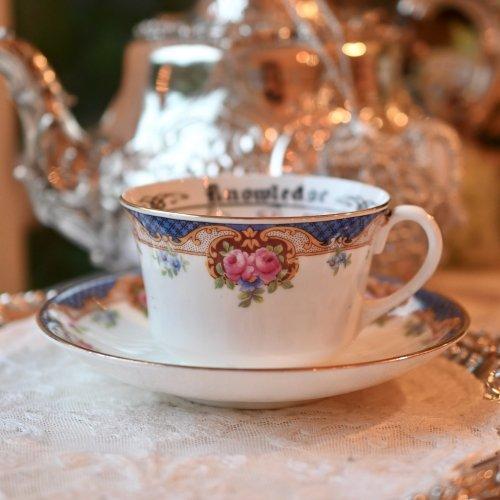 1920年代・エインズレイ ブルーのチェック模様とピンクのバラ柄のフォーチュンテリングカップ(紅茶占い説明書訳付き)(送料込)