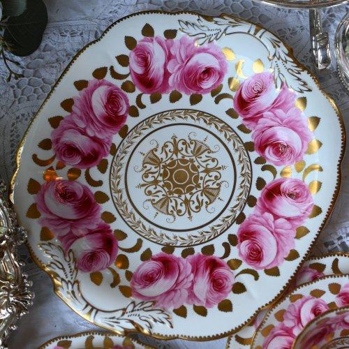 1950年代 ニューチェルシー ピンクのバラと金彩が美しいサンドイッチプレートまたはミルクジャグ&シュガーボウルセット(送料込)