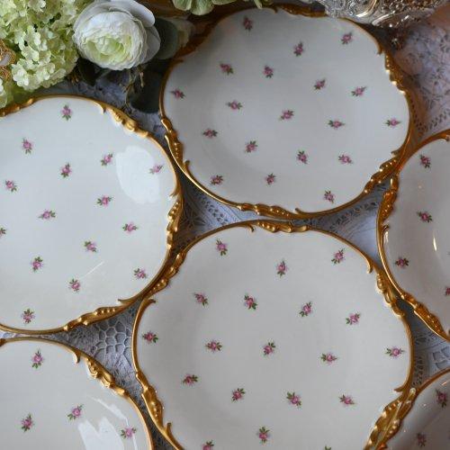 リモージュ・ジーンポヤット 金彩と小さなバラ模様が可愛らしいデザートプレートまたはフルーツディッシュ (送料込)