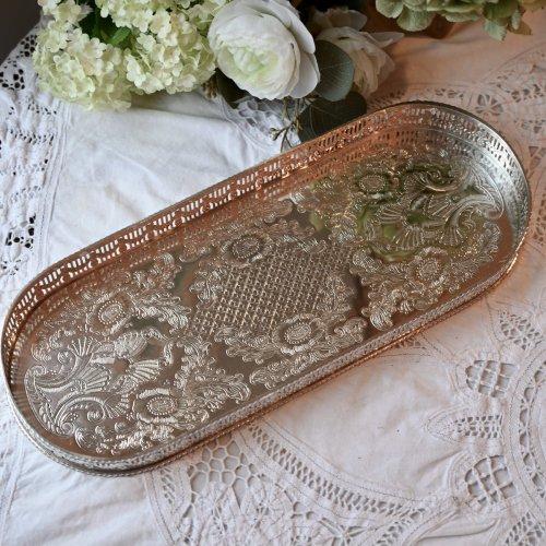 透かし模様の縁が美しいオーバル型ギャラリートレイ(送料込)