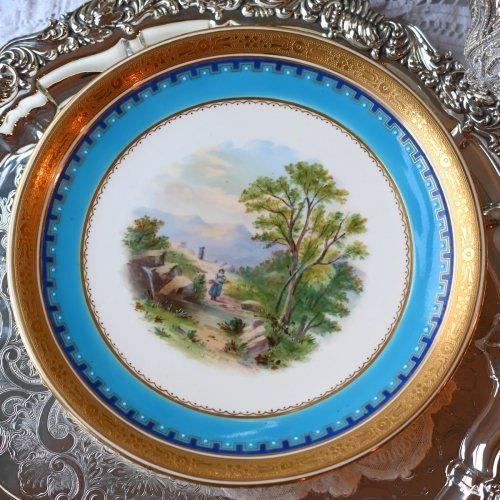 ミントン・1870年代手描きの風景画キャビネットプレート 薪拾いの女性(送料込)