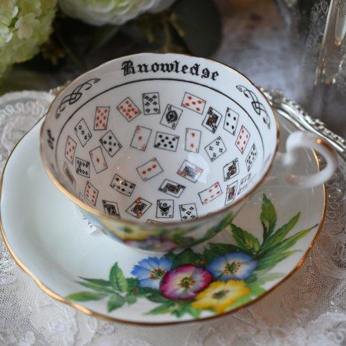 エインズレイ・大輪のカラフルな花柄のフォーチュンテリングカップ (送料込)