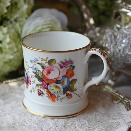1820年代・コールポート 手描きの花束が美しいモノグラム入りマグカップ(送料込)