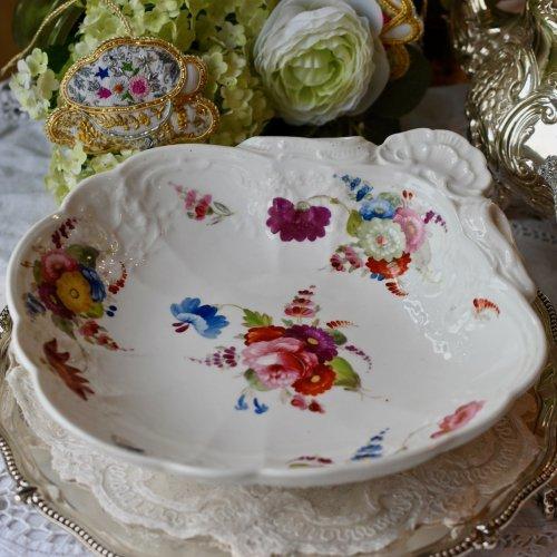 1820年代 コールポート 手描きのお花模様が美しい貝殻シェイプのプレート(送料込)