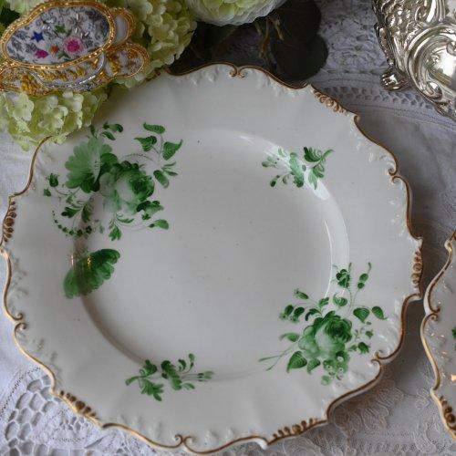 1840年代・ H&R ダニエル シュルズベリーシェイプ・ブリティッシュグリーンの花柄が美しいデザートプレート(送料込)