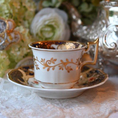 1820年代 リッジウェイ・金彩が豪華なドラゴン模様のコーヒーカップデュオ(送料込)