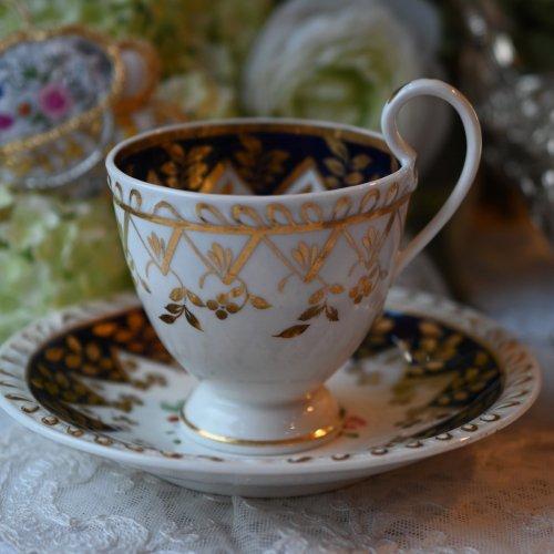 1820年代 リッジウェイ・ガドルーンの縁取りが美しいコバルト&ゴールドの コーヒーカップデュオ(送料込)