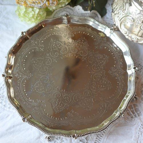 ヴィクトリア時代後期 ビーズ飾りのリムがきれいなスターリングシルバー製サルヴァ(送料込)