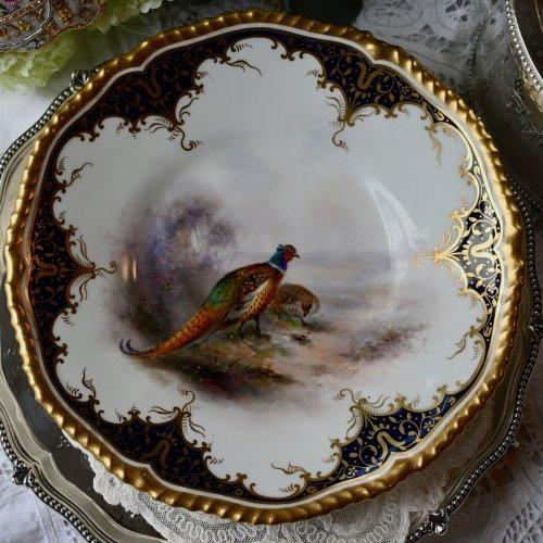 1900年代初期 ロイヤルウースター ・つがいの雉が描かれた風景画キャビネットプレート(送料込)