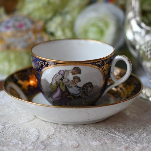 1810年代 肖像画家・アダムパック 子供の遊ぶ可愛らしい様子が描かれたカップ&ソーサーデュオ (送料込)