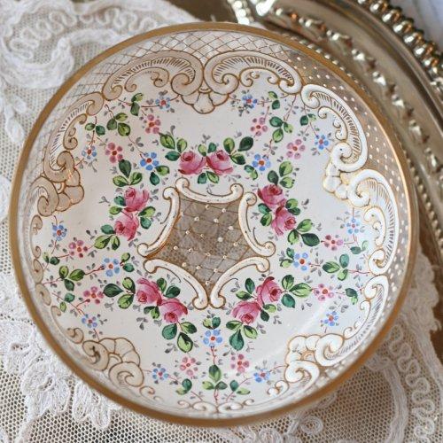 1890年代  フランス ベル・エポック時代 エナメル彩が華やかな足つきのグラスディッシュ(送料込)