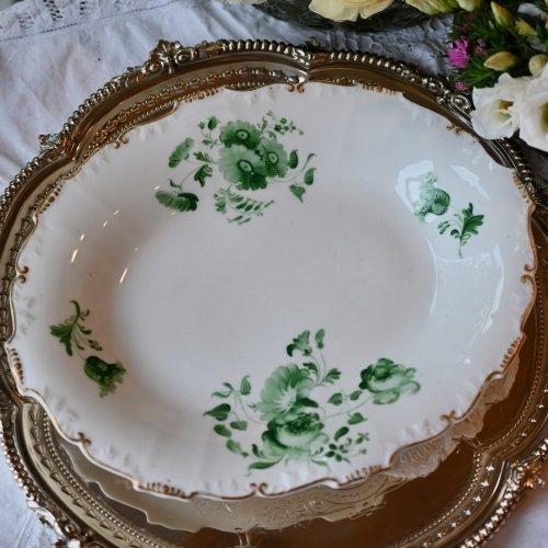 1840年代・ H&R ダニエル シュルズベリーシェイプ・ブリティッシュグリーンの花柄が美しいオーバル型プレート(送料込)