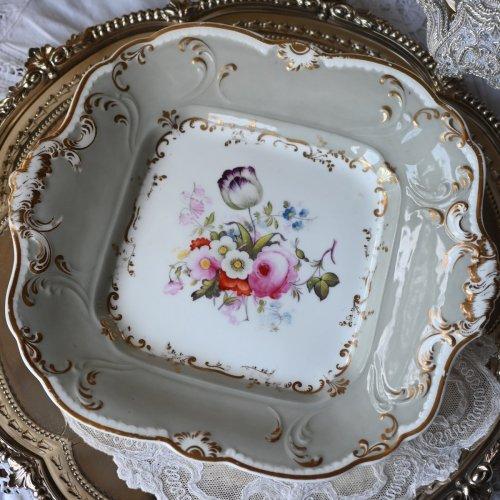 1830年代 リッジウェイ  グレーの縁飾りが美しいサンドイッチプレート(Belinda Gentle Collection)(送料込)