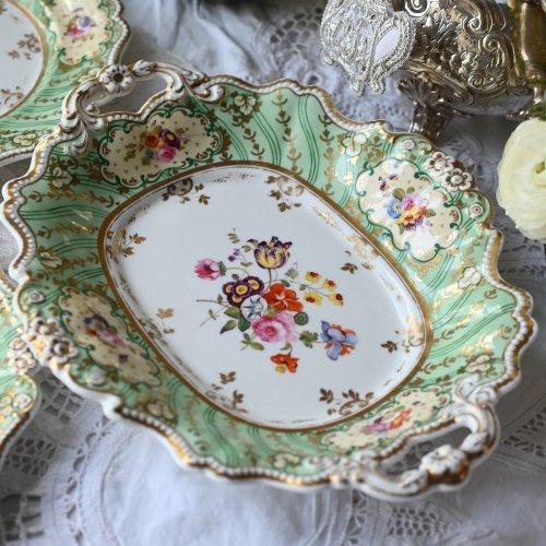 1830年代 リッジウェイ 小花のついたハンドルが美しいオーバル型サーヴィングディッシュ(送料込)