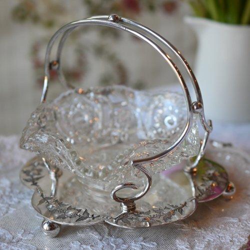 1910年 フリルが美しいプレストガラスとバラ模様のスタンド付きジャムディッシュ(送料込)