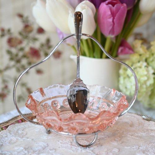 1930年代  フリルがきれいな淡いピンク色のジャムディッシュ ジャムスプーン付き(送料込)
