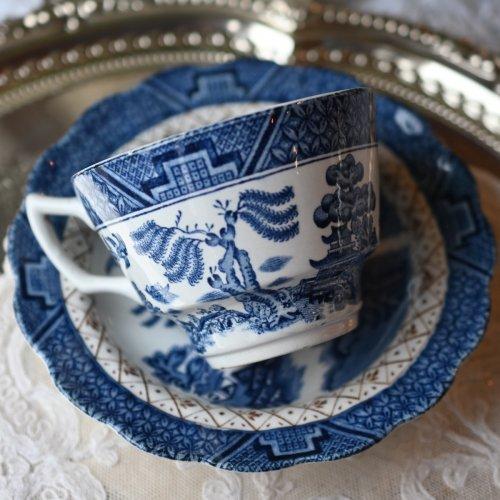 1900年初期 ブルーウィローパターンのティーカップ&ソーサー(送料込)