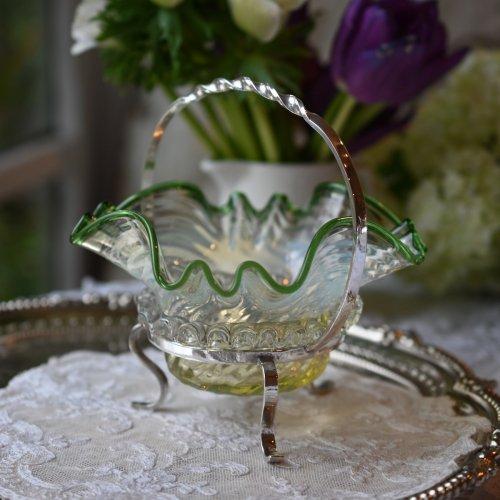 ヴィクトリア時代後期 フロストグリーンのグラスが美しいジャムディッシュ シルバープレートスタンド付き(送料込)