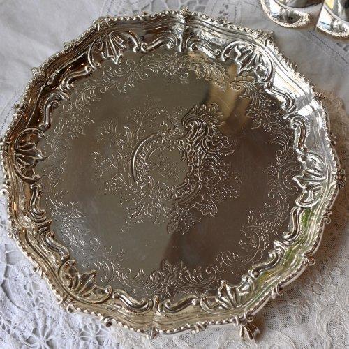 1877年・マーティンホール社製 スターリングシルバー 純銀 クロウ&ボールスタンドのエレガントなカードトレイ(送料込)