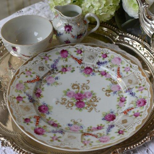オールドノリタケスタイル 薔薇模様が美しい日本製サンドウィッチプレート、ミルクジャグ、シュガーボウル3点セット (送料込)