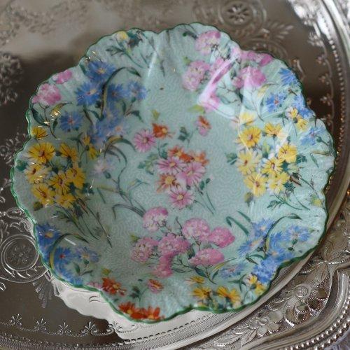 シェリー・メロディー ダックエッグブルーとカラフルなお花模様が爽やかなピンディッシュ(送料込)