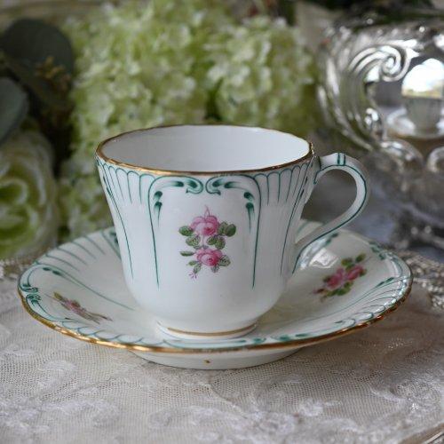 1890年代 ミントン グリーンのコーム柄が美しいカップ&ソーサー デュオ(送料込)