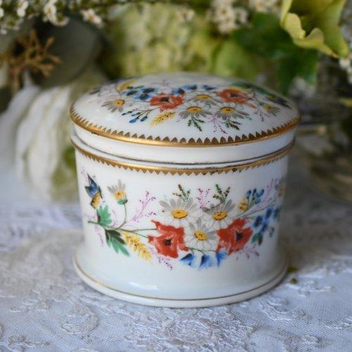 1800年代初期 スポード 野の花と蝶々が美しく描かれたパウダーポット(送料込)