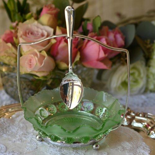 1930年代 グリーンのフロストグラスが可愛らしいジャムディッシュ スプーン付き(送料込)
