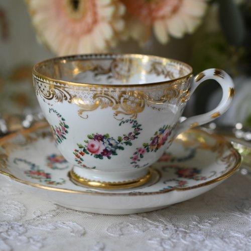 1860年代 ミントン パートリッジアイ柄の金彩が豪華なティーカップ&ソーサー(送料込)