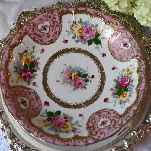 オールドノリタケ 1900年代初期マルキ刻印 ピンク色と金彩のジュエルのサンドイッチプレート (送料込)