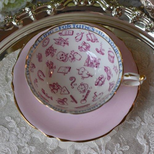 1930年代・パラゴン ピンク色の紅茶占いカップ&ソーサー・占い説明の訳をお付けいたします(送料込)