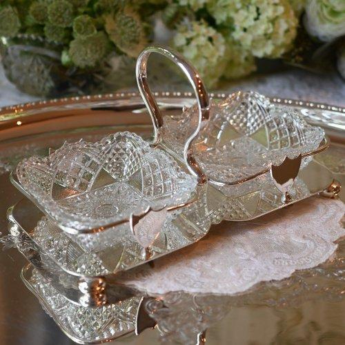 1910年代・シルバープレート製 ループハンドル クリアホブネイルガラスのダブルディッシュスタンド(送料込)