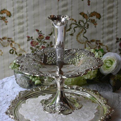 1890年代 ・シルバープレート製・バラ模様の縁取りのタッツァ付きイパーン(送料込)