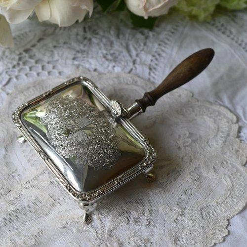 1890年代 シルバープレート製・長方形の 木製ハンドル チーズウォーマー (送料込)