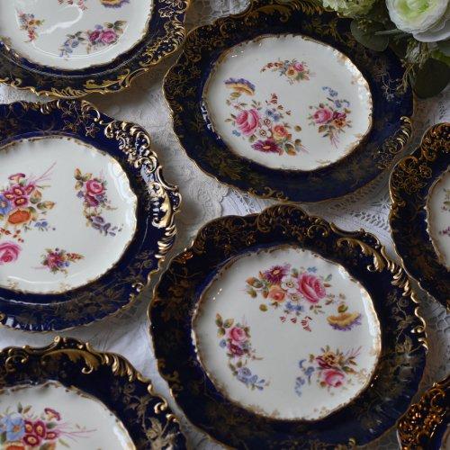 ハマースレイ ロココスタイル・コバルトと金彩と手描きの絵柄のデザートプレート(送料込)