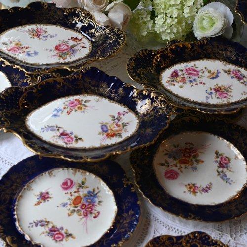 ハマースレイ ロココスタイル オーバル型のコバルトブルー金彩 手描きのお花模様のコンポート 在庫が3客ございます (送料込)