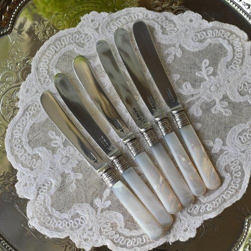 シェフィールド製 スターリングシルバーと白蝶貝のティーナイフ6本セット 箱付き (送料込)