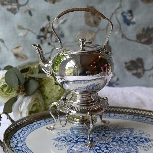 1890年 シルバープレート製 小ぶりのふっくらとした可愛い ティーケトル(送料込)