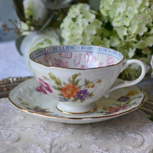 1930年代 パラゴン エンボス模様とお花模様がきれいなフォーチュンテリングカップ&ソーサー デュオ  (紅茶占い説明書訳付き)(送料込)