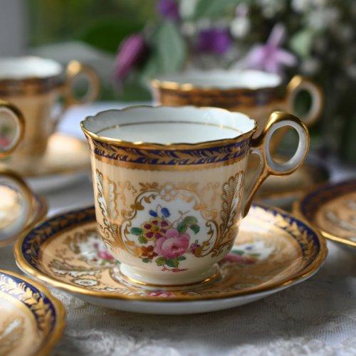 1910年代 コウルドン・アプリコット色と金彩とコバルトブルーのリムが美しいコーヒーデュオ 6客セット(送料込)