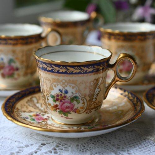 1910年代 コウルドン・ブラッシュアイボリーに金彩とコバルトブルーのリムが美しいコーヒーデュオ 5客セット(送料込)