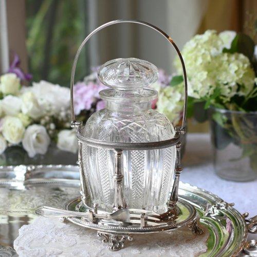 1890年代 ウォーカー&ホール社 シルバープレート製オーバルシェイプのスタンドとグラスのピクルスジャー(送料込)