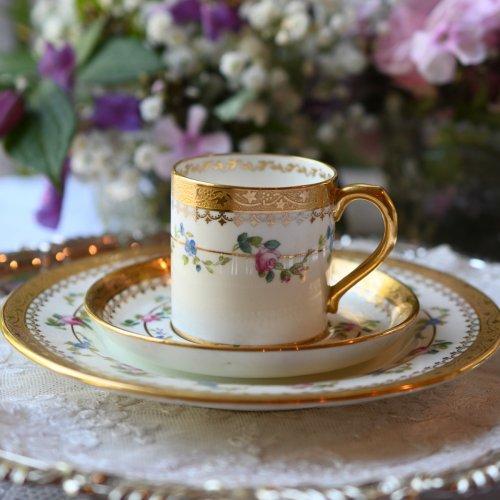 1890年代・ミントン 流星柄のアシッドゴールド装飾が眩いコーヒーカップ&サイドプレート (送料込)