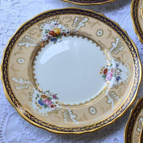 1910年代 コウルドン・アプリコット色と金彩とコバルトブルーのリムが美しいディナープレート(大)単品 12枚ございます。(送料込)